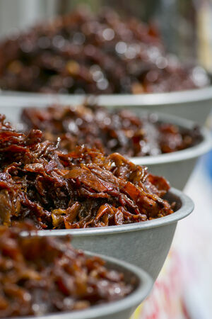 heathy: Deep fried marinated beef and pork Stock Photo