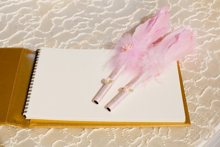 Photo of a wedding register and feather pen  Wedding guestbook  photo