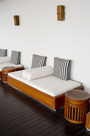 outdoor furniture: cushions on the sofa in living room of beach villa