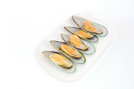 molluscs: Fresh Mussels for grill isolate on white