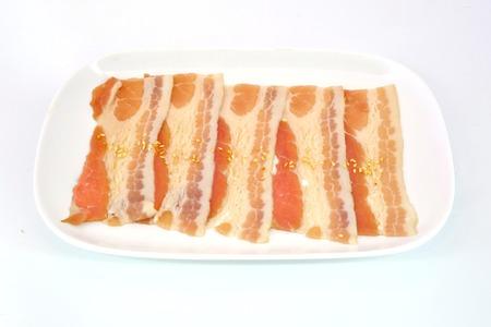 streaky: Pork belly slice isolate on white  Stock Photo