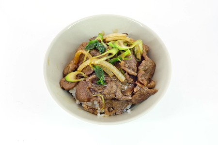 gyudon : japanese food with beef and rice isolate on white background photo