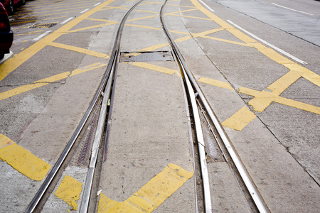 street railway with yellow street mark photo