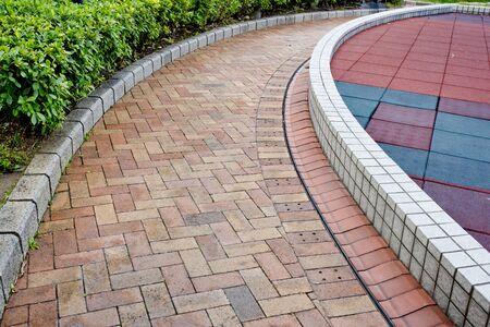 brick road: brick road through garden