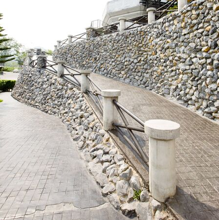 stone path: A stone path and wall