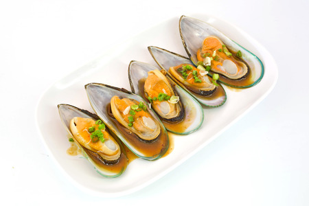 molluscs: Fresh Mussels for grill isolate on white background