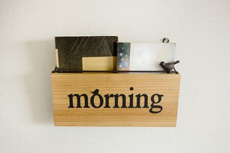 Book shelf with wording Morning