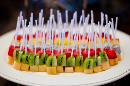 canapes: fruit canapes Stock Photo