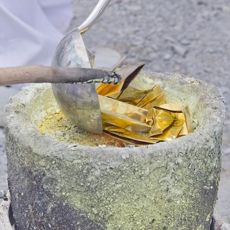 smelter: gold leaf casting
