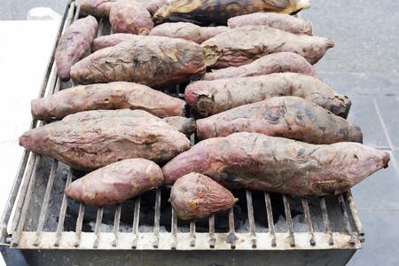 gridiron: Sweet potato roasted just taken from the gridiron.