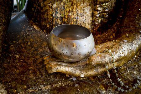 limosna: Seleccione el enfoque de la mano de Buda y el cuenco de las limosnas