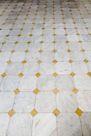 tiles floor: Triangle tiles floor in house Stock Photo