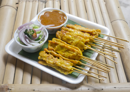 nibbles: Pork Satay with Peanut Sauce and Cucumber Relish