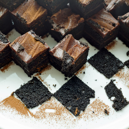 leavings: Cake chocolate brownies on white plate with leavings of brownies Stock Photo