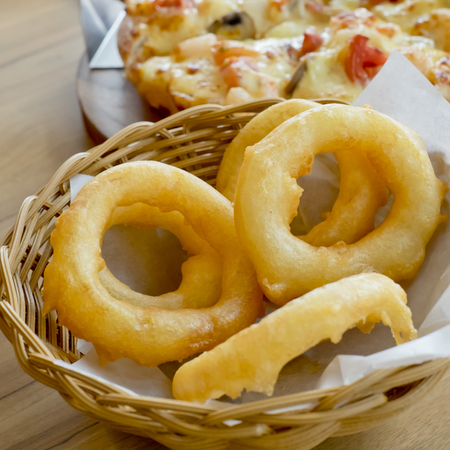onion rings: Fried onion rings. Side Dish.Fast food Stock Photo