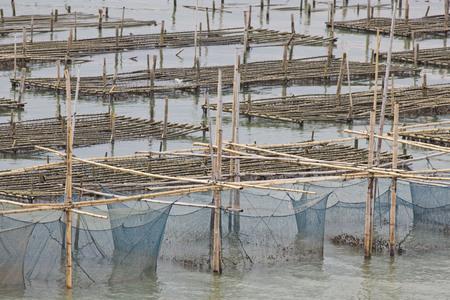 Die coop für Fische im Osten von Thailand Meer Fütterung. Lizenzfreie Bilder