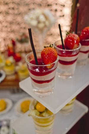 catering dessert line in wedding ceremony