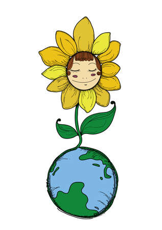 Flower on Earth Vector