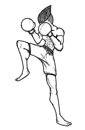Muay Thai : a guarded stance  Illustration