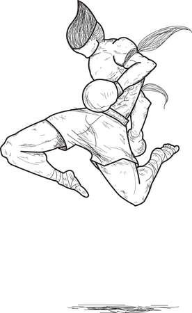 Muay Thai   flying knee strikes Stock Vector - 15520173
