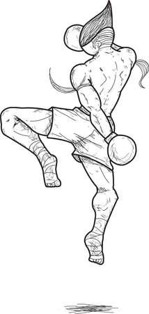 Muay Thai   flying knee strikes Stock Vector - 15520171