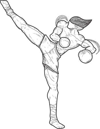 Muay thai   Jarakhe Fad Hang  Swing kick   Vector