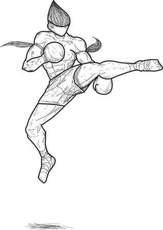 muay thai: Muay thai   Jump roundhouse Kick Illustration