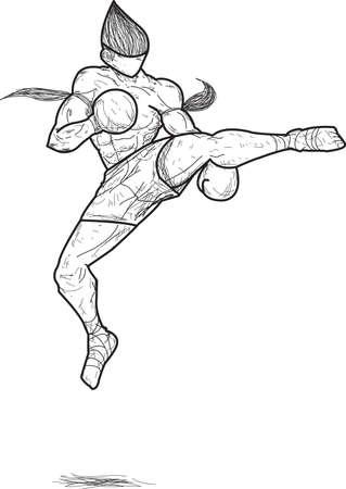 Muay thai   Jump roundhouse Kick Ilustração