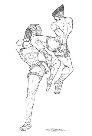 Muay Thai   flying knee strikes  Vector