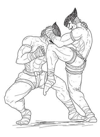 male boxer: Muay Thai : knee strikes Illustration