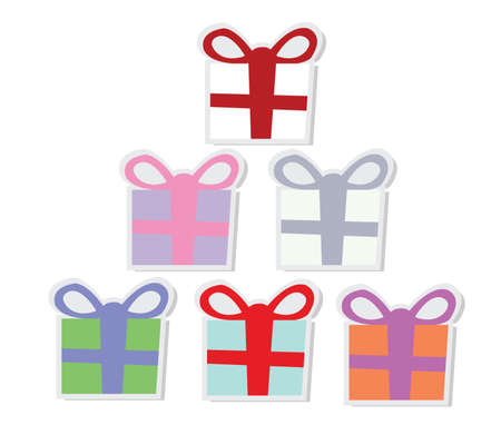 Set of colorful vector gift boxes with bows and ribbons.  Stock Vector - 16470665