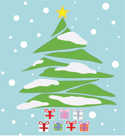 Crisrmas tree with cristmas gift boxes from snowflakes. Vector  Vector