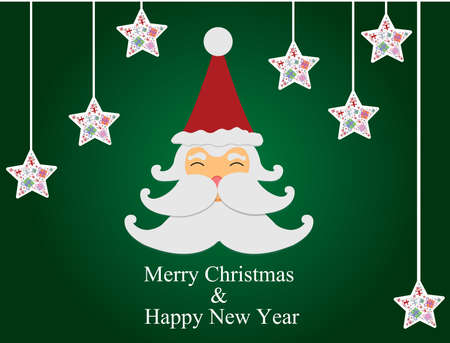 santa claus, stars and Green background  Vector
