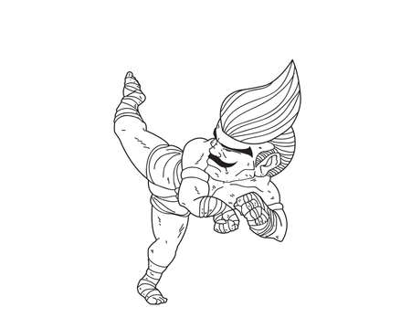 Muay Thai Boran : character cartoon 5 ( Jarakhe Fad Hang)