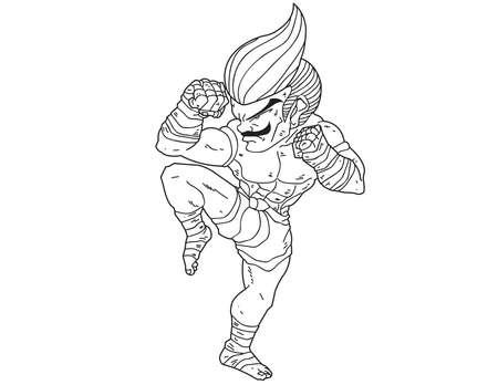 muay thai boran: Muay Thai Boran : character cartoon 6 (A guarded stance)