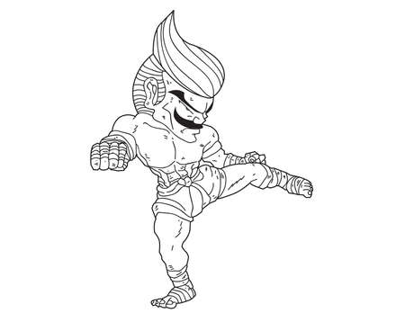 Muay Thai Boran : character cartoon 7 (Roundhouse kick)
