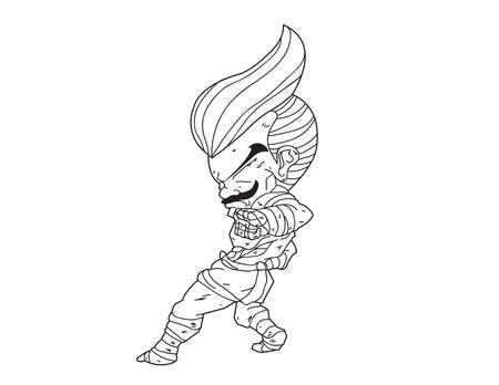 muay thai boran: Muay Thai Boran : character cartoon 9 (reverse elbow)  Illustration