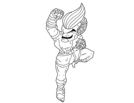 Muay Thai Boran : character cartoon 10 (uppercut)  Illustration
