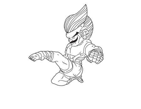 muay thai boran: Muay Thai Boran : character cartoon 11 (jump front kick)