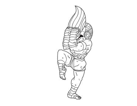 guarded: Muay Thai Boran : character cartoon 12 (A guarded stance)