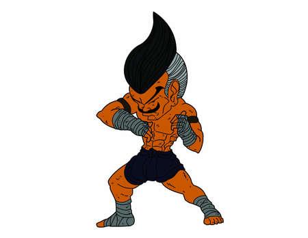 muay thai boran: Muay Thai Boran   character cartoon 2 Color Elbow Strike