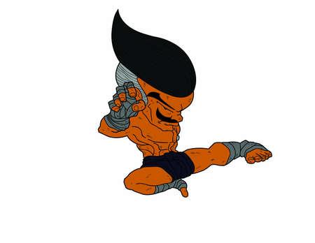 Muay Thai Boran : character cartoon 4(Muay Thai Jump Kick) Stock Vector - 17256759