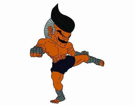 Muay Thai Boran : character cartoon 7 Color (Roundhouse kick) Stock Vector - 17256755