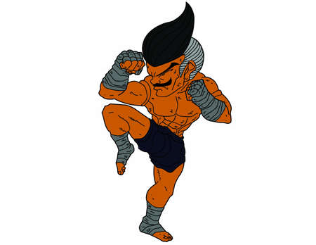 guarded: Muay Thai Boran : character cartoon 6 Color (A guarded stance)