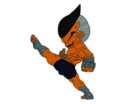 Muay Thai Boran : character cartoon 8 Color (High Kick)