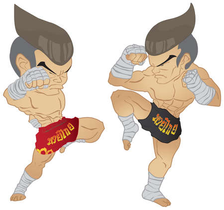 Muay thai Fighter  Knee Strike VS A guarded stance  Illustration