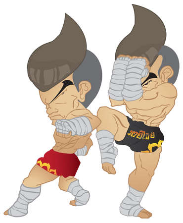 guarded: Muay Thai   reverse elbow VS A guarded stance Illustration