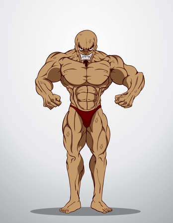 sexy muscular man: Bodybuilder Fitness Illustration  Illustration