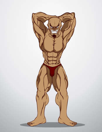 Bodybuilder Fitness Illustration  Illustration