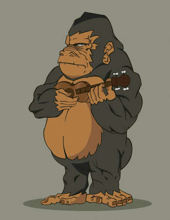 gorilla playing guitar Vector